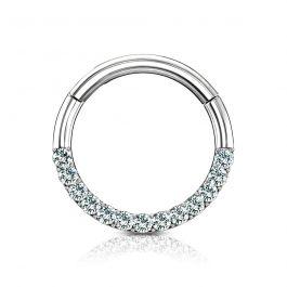 Ring aus 14 Karat Gold mit steinbesetzten Halbkreis und Scharnier